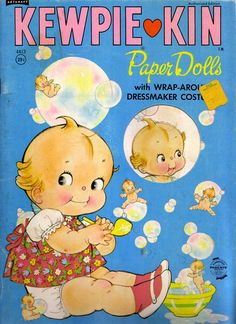 """Kewpie Kin Paper Dolls Wrap-Around Costumes 1960s-Delightful Kewpie Kin Paper Doll book from 1960s.  Four press out Kewpie Dolls and one 'Kewpie Puppy"""". Six pages of press out costumes. Pages have some yellowing due to age. Otherwise, in very good to excellent condition."""
