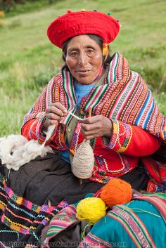 Quechua woman works wool into yarn, Lima Peru | Patrick J Endres