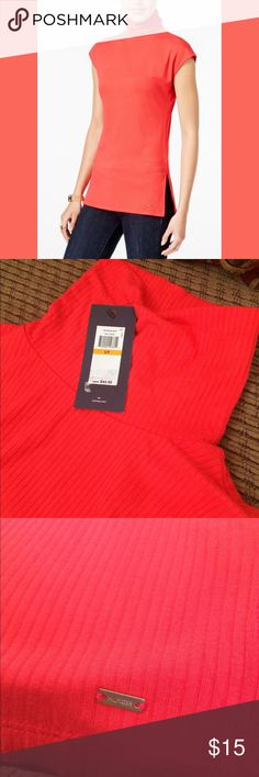 Tommy Hilfiger Orange turtleneck sleeveless top -Sleeveless  - new with tag - in good condition  - size small - - follow me on twitter for good deals @luna1819991 Tommy Hilfiger Tops Blouses