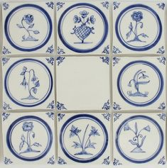 Delft Tiles-hand made-flowers-B&W Delft Tiles, Blue Tiles, Mosaic Crafts, Handmade Tiles, Blue China, Ceramic Painting, Tile Art, Tile Patterns, Retro Design