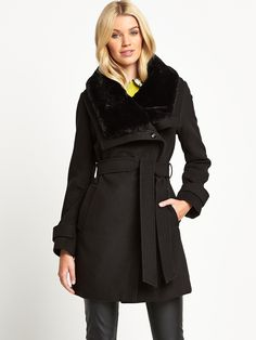 5be8027ac793 Oasis Premium Tokyo Fur Cowl Coat | very.co.uk Department Store, Autumn