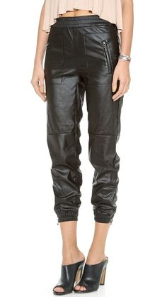 Blank Denim Vegan Leather Sweapants.  The track-pant is in style!  #Trends #fashion