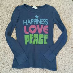 Lucky brand thermal Long sleeved.  Blue. Says happiness love peace on front.  Great condition.  Thermal Lucky Brand Tops