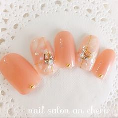 Orange Nail Art, Orange Nails, Pink Nails, Japanese Nail Design, Japanese Nail Art, Simple Wedding Nails, Sea Nails, Kawaii Nails, Nails 2018