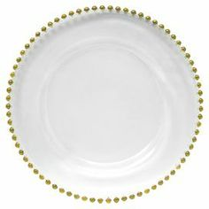 "Glass charger plate with beaded detail in gold.   Product: Charger plateConstruction Material: Glass Color: White and goldFeatures: Beaded detailDimensions: 13"" Diameter Note: For decorative use onlyCleaning and Care: Hand wash recommended"