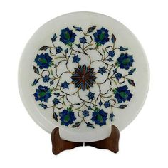 Marble inlay plate, 'Sunflower Kaleidoscope' - Marble Inlay Decorative Plate with Wood Stand