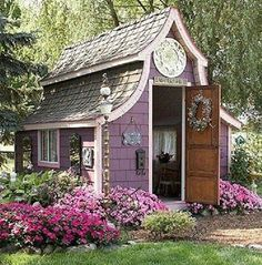 Purple garden shed! This little dream cottage has to have a garden shed. Shed Playhouse, Backyard Playhouse, Backyard Retreat, Pink Playhouse, Backyard Studio, Backyard Sheds, Retreat House, Garden Cottage, Home And Garden