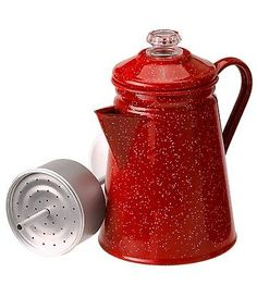 Indoor Outdoor Camping 8 Cup Red Enamel Percolator Coffee Pot,NEW FREE SHIP in Sporting Goods | eBay