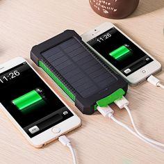 DCAE Real 10000 mAh Banco de la Energía Impermeable resistencia a la caída de Choque Dual USB Cargador De Viaje Solar PowerBank Para El teléfono inteligente Android