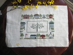 Vintage cross stitch,unfinished family treecross stitch,house sampler,vintage sampler,home sampler at Designs By Willowcreek on Etsy Vintage Cross Stitches, Cross Stitch Pictures, Cross Stitch Samplers, Craft Supplies, Etsy Shop, Sewing, Crafts, House, Dressmaking