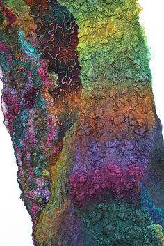 Nuno Felted Scarf Wrap by Marina Shkolnik Nuno Felt Scarf, Felted Scarf, Felt Fabric, Fabric Art, Nuno Felting, Needle Felting, Wooly Bully, Felting Tutorials, Wet Felting Projects