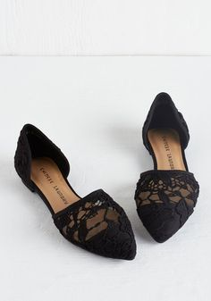 On the Path to Poise Flat in Black. Invite these embroidered mesh flats to graciously glam up your look! #gold #prom #modcloth