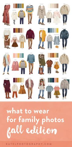 family photo outfits ETA September This page was just updated with fresh clothing boards, so all of the clothing recommendations below are currently available in stores! These are affiliate links, meaning that I make a small commission if you choose to Fall Family Picture Outfits, Family Picture Colors, Family Photos What To Wear, Winter Family Photos, Family Photos With Baby, Fall Family Photo Outfits, Family Picture Clothes, Outfits For Family Pictures, Fall Photo Shoot Outfits