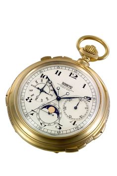 "The ""King Fouad"": one of the most complicated watches made by Vacheron Constantin. Commissioned by the Swiss community of Egypt and gifted to King Fouad of Egypt in 1929. This suprelative pocket watch features 10 complications including perpetual calendar, chronograph and minute repeater. Front"