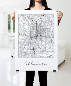 ATLANTA map poster, black and white. Modern, Minimalistic ATLANTA Map by PFposters.  This print is the perfect addition for the modern home or office