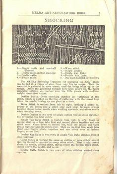 Smocking instructions -  Melba Art Needlework Book - 6th ed (c1940-1950)
