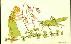 Kunstnerkort Gratulasjonskort Art Noveau-kort Lisbeth Bergh. Jente/blomst/gresshoppe.  Utg John Fredriksons.Eftf.  Stemplet 1910.