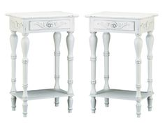 Set of 2 Carved Wood Shabby White Nightstands Tom & Co. http://www.amazon.com/dp/B00IDUTWOO/ref=cm_sw_r_pi_dp_lGFbub1J9Y08Q
