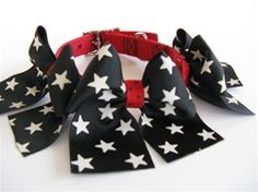 Red Collar - Large Black Star Bows