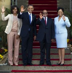President and First Lady Obama met with South African President Jacob Zuma and his wife Thobeka Madiba-Zuma at Union Building in Pretoria, S...