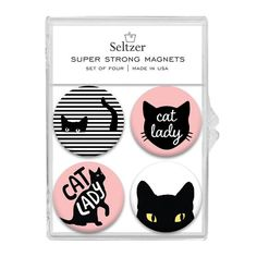 Keep your notes and photos stylishly organized on your fridge, locker, or any other magnetic surface with these super strong magnets fashioned for a stylish cat lady. Made with recycled content. Set of Funny Mothers Day Gifts, Funny Gifts, Gag Gifts, Cute Gifts, Super Strong Magnets, Weird Gifts, Hanging Photos, Buy A Cat, Sweet Memories