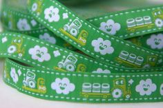 woven ribbon 'tractors' green by ByBora on Etsy, $2.70