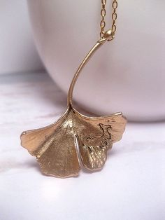Ginkgo Leaf Necklace  Gold  Nature  by FashionCrashJewelry on Etsy