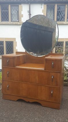A Lovely Vintage Circa Dressing Chest/Table with Drawers & Mirror to Top Deco Furniture, Bedroom Furniture, Dressing Table And Chest Of Drawers, 1950s Bedroom, Vintage Dressing Tables, White Bedrooms, Vanities, 20 Years, Uni