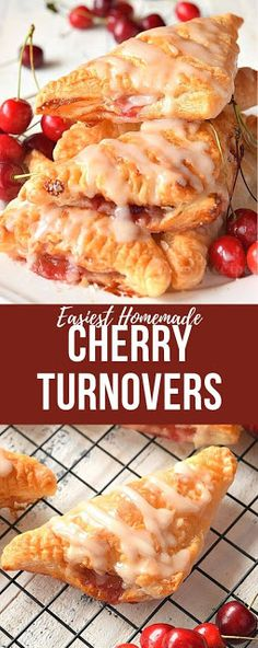 (*Empire) Easy cherry turnovers{with puff pastry} makes them so amazing,with vanilla glaze! You wont believe these cherry turnovers are store bought or homemade they are that good! # puff pastry dessert Cherry Turnovers{With Puff Pastry} Cherry Desserts, Cherry Recipes, Köstliche Desserts, Tart Recipes, Appetizer Recipes, Cooking Recipes, Cherry Pie Filling Desserts, Delicious Desserts, Easter Recipes