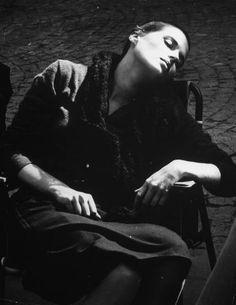 Silvana Mangano napping between takes