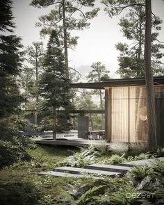 Modern cottage architecture outside the city with beautiful landscape.