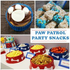 "Puppy Party Food! (puppy chow, ""pup""corn, chex mix, Scooby graham snacks) plus ideas for decor and activities. Fun ideas."