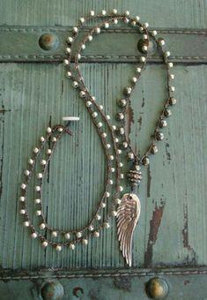 Angel wing crochet necklace - Summer Essential - long layering necklace sterling silver angel wing feather bohemian boho by slashKnots Summer Necklace, Boho Necklace, Boho Jewelry, Jewelry Crafts, Beaded Jewelry, Jewelery, Jewelry Necklaces, Handmade Jewelry, Jewelry Design