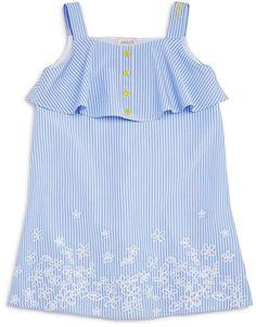 Armani Junior Girls' Striped Embroidered Poplin Dress - Big Kid