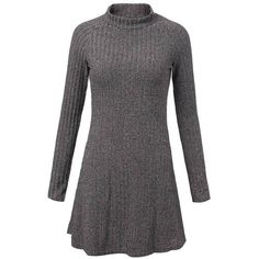 Casual Women Solid O Neck Long Sleeve Pleated Knit Pullover Dress ($12) ❤ liked on Polyvore featuring dresses, newchic, mixed print dress, pleated knit dress, a line knit dress, pattern dress and long sleeve dress