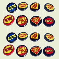 Super Hero Party Favors  1.5 inch Button Pins Give them out to the kids to wear!