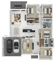 Impressive 4 Bedroom Apartments For Apartment Bedroom Apartment House Plans Image 3d House Plans, Small House Floor Plans, 4 Bedroom House Plans, House Layout Plans, Garage House Plans, Dream House Plans, House Layouts, Home Map Design, Home Design Plans