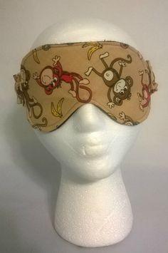 Monkey Themed Sleep Mask, spa mask, eye sleep mask, travel mask, beauty sleep, cotton, foldover elastic, fleece, flannel, baboon, monkies by KrissysCraftyKitsch on Etsy