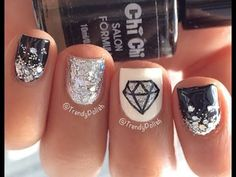 Diamond Nail Art For Short Nails - YouTube