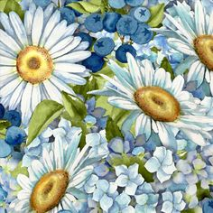 Quilt Fabric Daisies and Blueberries Sweet Tart by lisaaguirre, $5.49