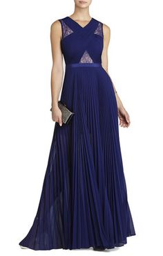ORIENT BLUE Blue Gowns - Caia Chiffon-Pleated Gown