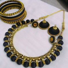 Black Silk Thread Necklace Set With antique bails and earing studs 1 Necklace 1 set earings 3 Bangles Silk Thread Earrings Designs, Silk Thread Bangles Design, Silk Thread Necklace, Silk Bangles, Beaded Necklace Patterns, Thread Jewellery, Jewelry Patterns, Beaded Jewelry, Silk Thread Jhumkas