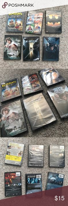 """New, Sealed Action & Fantasy/Sci-Fi DVD's Set of 6 Action & Fantasy/Sci-Fi DVD's new in original packaging with all plastic seals intact! Movie titles include - The Flintstones """"Yabba Dabba 2-Pack // Superman I-IV Film Favorites // Batman // Clash of the Titans // X-Men // X2 """"X-Men United""""                                NOTE - I am selling a lot of brand new, sealed dvd's due to family hoarders and past return dates!🤷🏻♀️ I can also make custom sets of 6 for $15 each or cheaper if…"""