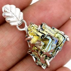 12g-Bismuth-Crystal-925-Sterling-Silver-Pendant-Jewelry-SP140042