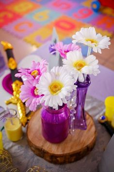 Sofia the First birthday party flowers! See more party planning ideas at CatchMyParty.com!