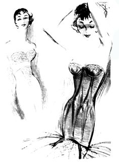 i love fashion sketches like this. i need to draw some and put them in some of the frames i have lying around. Vintage Fashion Sketches, Fashion Illustration Sketches, Illustration Art, I Love Fashion, Fashion Art, Fashion Design, Lingerie Illustration, Cigar Girl, Vintage Photos