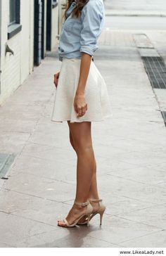 white skirt with light blue blouse nude sandals^^ looks perfect combination