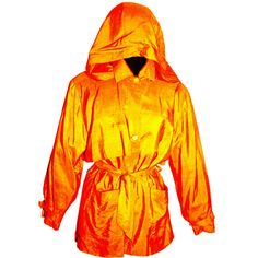 Preowned 1990s Isaac Mizrahi 100% Silk Tangerine Trench Thin Rain Coat... ($450) ❤ liked on Polyvore featuring outerwear, coats, jackets, orange, rain trench coat, hooded trenchcoat, leather-sleeve coats, trench coats and rain coat