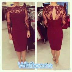 Elegant Cheap Sheath Mother Of Bride Dresses 2016 Sheer Lace Knee Length Long Sleeves Women Formal Prom Gowns 2015 Custom Made Occasion Wear Young Mother Of The Bride Dresses Casual Mother Of The Bride Dresses From Whiteone, $95.96| Dhgate.Com
