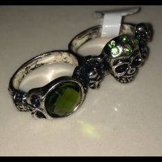 Skull Fashion Two Finger Ring Size 9 Stainless Steel Jewelry Rings
